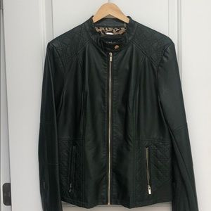{black rivet} forest green leather jacket